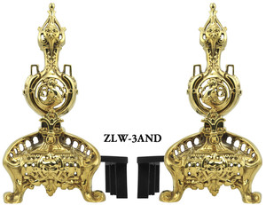Reproduction Victorian Neo Rococo Brass Fireplace Andirons (ZLW-3AND)