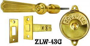 Occupied/Open Bathroom Privacy Latch with French Lever Handle (ZLW-43G)