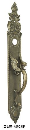 "Victorian Griffin Or Dragon Thumblatch Door Plate 23"" Tall (ZLW-490SP)"