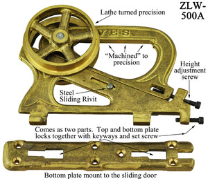 Vintage-Style-Solid-Brass-Pocket-Door-Top-Rollers-(ZLW-500A)