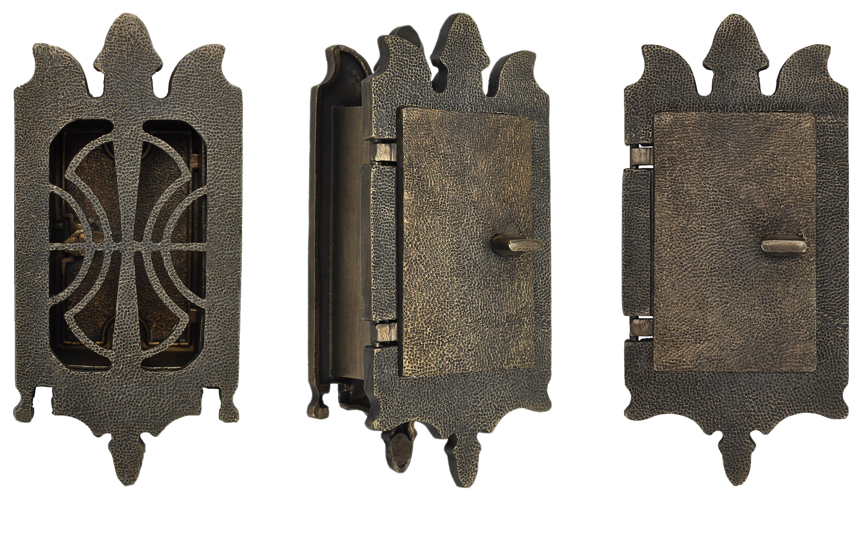 Small Art Nouveau Door Grille Or Speakeasy or Peephole Set (ZLW-DK334)
