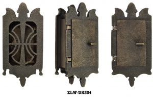 Small Art Nouveau Door Grille Or Speakeasy or Peephole Set (ZLW-DK334)