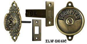 Occupied/Open Bathroom Privacy Latch with Fancy Marquise Shape Turnlatch- Choice Of Finish (ZLW-43B)
