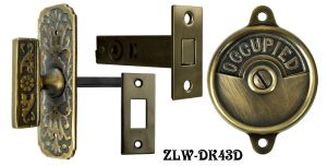 Occupied/Open Bathroom Privacy Latch with Narrow Victorian Turnlatch- Choice Of Finish (ZLW-43D)
