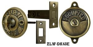 "Occupied/Open Bathroom Privacy Latch with ""Turn""  Turnlatch- Choice Of Finish (ZLW-43E)"