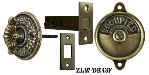 Occupied/Open Bathroom Privacy Latch with Round Rococo Turnlatch- Choice Of Finish (ZLW-43F)