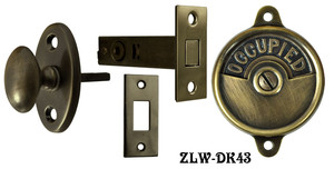 Occupied/Open Bathroom Privacy Latch With Oval Knob Turnlatch - Choice Of Finish (ZLW-43)
