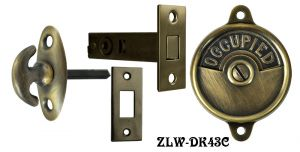 Occupied/Open Bathroom Privacy Latch  with Crescent Turnlatch- Choice Of Finish (ZLW-43C)