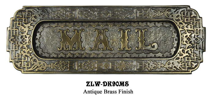 Description. ZLW90SETPB Polished Unlacquered Brass Russell and Erwin Design  Antique Reproduction Letter Mail Slot Set - Vintage Hardware & Lighting - Victorian Style Ornate Mail Letter