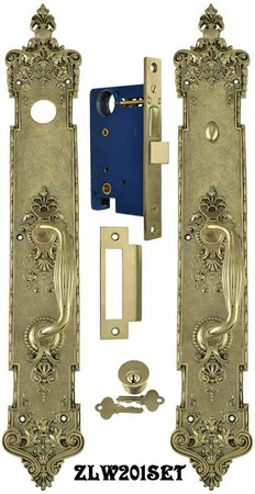 "Victorian P&F Corbin Toulon Door Plate Entry Set 22 1/4"" Tall (ZLW201SET)"