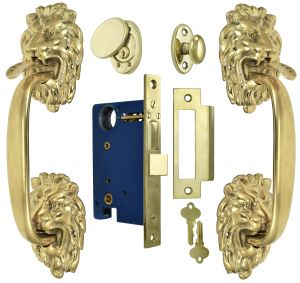 Victorian-Inspired Lion Head Thumb Latch Entry Door Set with Locking Mortise (ZLW202SET)
