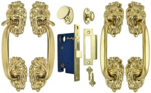 Victorian-Inspired Lion Head Double Door Entry Set (ZLW202SET2)