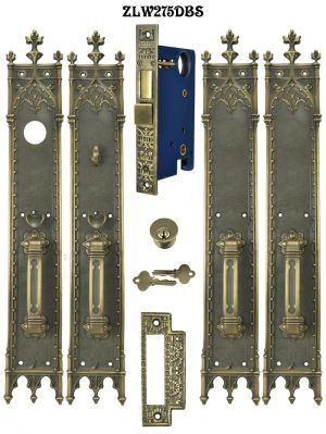 Victorian Amiens Gothic Double French Entry Door Set 22 3/4
