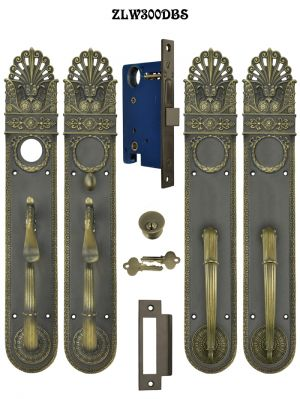 Art Nouveau Pierced Entry Double or French Door Set Locking Mortise (ZLW300DBS)