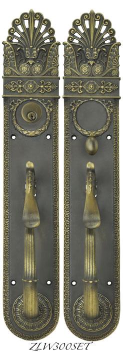 Art Nouveau Pierced Yale Entry Exterior Door Set Locking