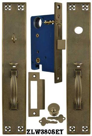 arts u0026 crafts style thumblatch entry door set with locking mortise zlw380set