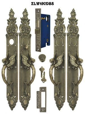 "Victorian Style Griffin or Dragon Double Door Entry Set 23"" Tall (ZLW490DBS)"
