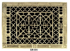 Grill Recreated 10 X 14 Brass  Floor, Ceiling, Or Wall Grate For Air Or Heat Vent. Register Cover (ZM-1014)