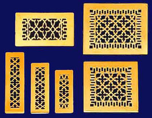 Victorian Brass Floor, Ceiling, Or Wall Grate Vent. Register Cover With Damper. ( Choose By Size )
