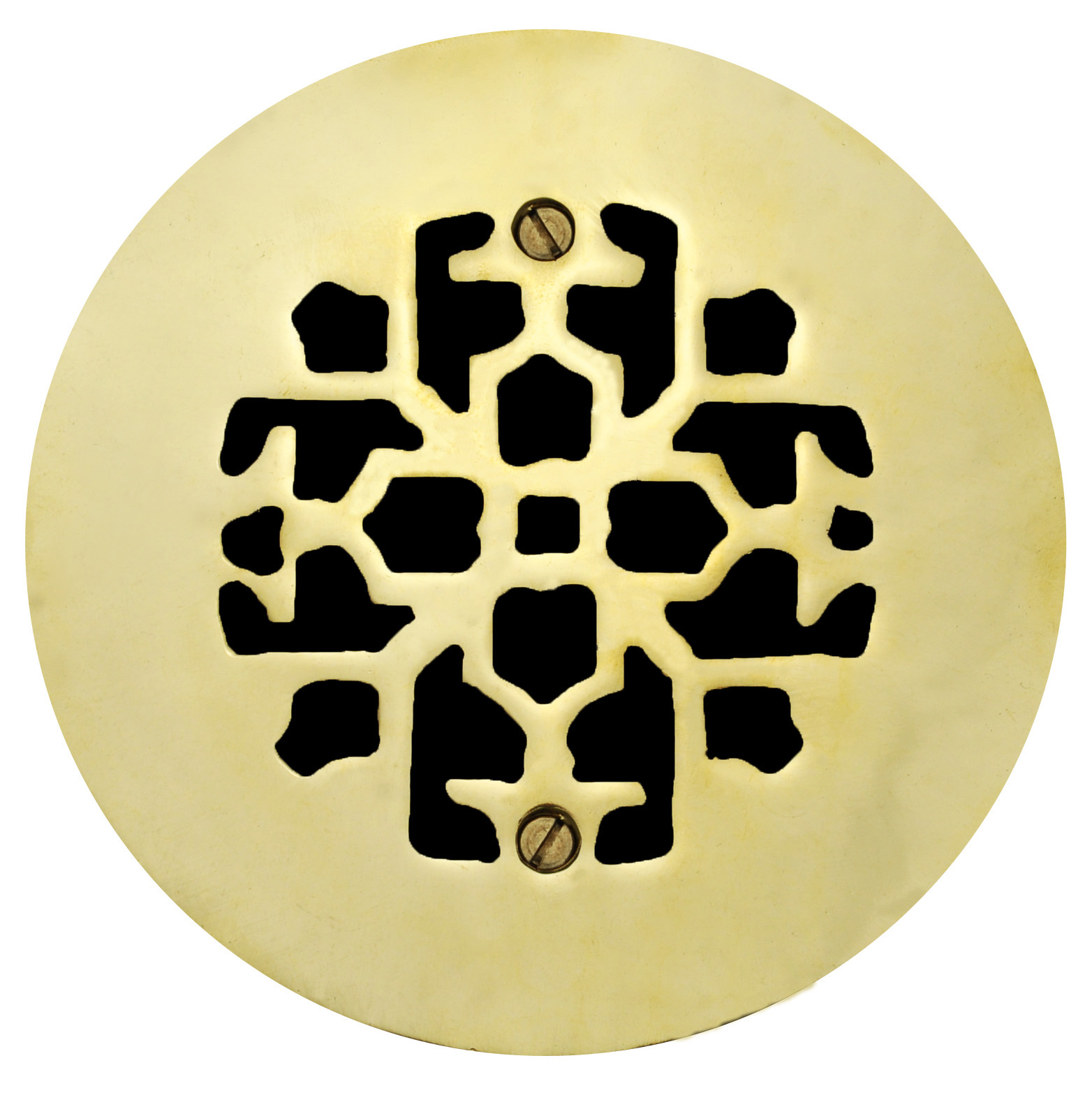 Brass Round Floor, Ceiling, or Wall Grates for Air or Heat Vent  Register  Covers Without Dampers, 4