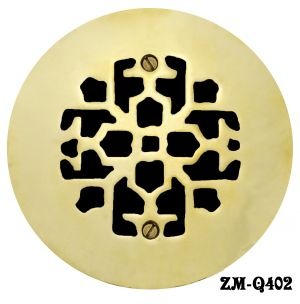 "Brass Round Floor, Ceiling, or Wall Grates for Air or Heat Vent. Register Covers Without Dampers, 4"" Hole Size, 6"" Overall Diameter (ZM-Q402)"