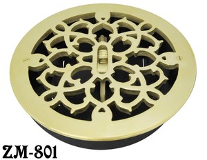 Brass-Round-Grates-Vent-Register-With-Damper-8-inch-Boot-Size-9-inch-Outside-(ZM-801)
