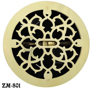 Brass Round Grates Vent Register With Damper, 8