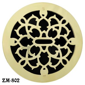 "Brass Round Grates Grille Vent Register Without Damper, 8"" Boot Size, 9"" Outside (ZM-802)"