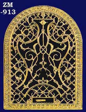 Arched Brass Grille Wall Grate For Return Air Intake Or Heat Vents, Register Cover, With Damper (ZM-913)