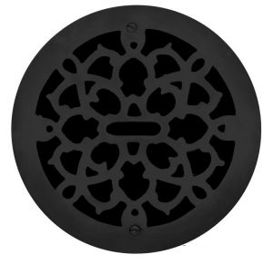 "Cast Iron Round Floor, Ceiling, or Wall Grate Vent. Register Cover Without Damper, 11"" Hole Size, 13"" Overall Diameter (ZM-IR-1102)"
