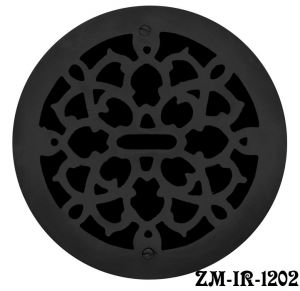 "Cast Iron Round Floor, Ceiling, or Wall Grates for Air or Heat Vent. Register Cover Without Damper, 12"" Boot Size, 14"" Overall Diameter (ZM-IR-1202)"