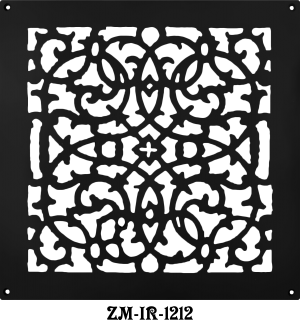 "Cast Iron Floor Ceiling or Wall Grille Registers Without Dampers Hole Size: 12"" x 12""; Overall Size: 14"" x 14"" (ZM-IR-1212)"