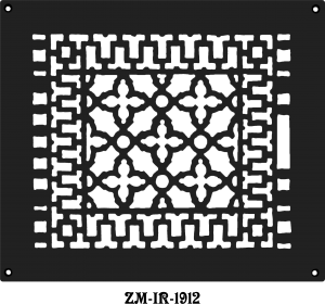 "Cast Iron Floor Ceiling Or Wall Grille Registers Without Dampers Hole Size: 9.75"" X 11.75""; Oa 12"" X 14"" (ZM-IR-1912)"