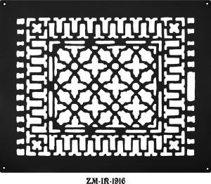 "Cast Iron Floor Ceiling Or Wall Grille Registers Without Dampers Hole Size: 14"" x 17 7/8""; OA 16 x 20"" (ZM-IR-1916)"
