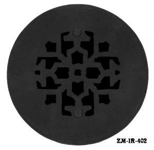 "Cast Iron Round Floor Ceiling or Wall Grates Vent Register Cover, No Damper, 4"" Boot-Size, 6"" Overall (ZM-IR-402)"
