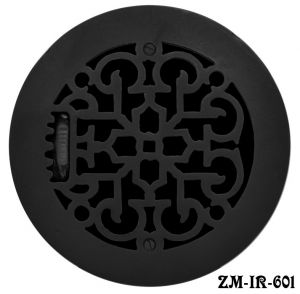"Cast Iron Round Floor, Ceiling, or Wall Grates for Air or Heat Vent. Register Cover With Damper, 6"" Hole Size, 7 1/2"" Overall Diameter (ZM-IR-601)"