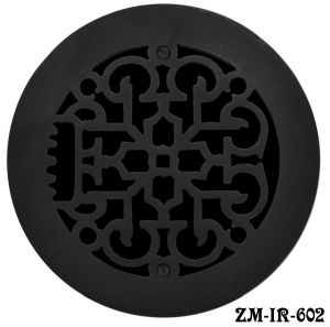 "Cast Iron Round Floor, Ceiling, or Wall Grates for Air or Heat Vent. Register Cover Without Damper, 6"" Hole Size, 7 1/2"" Overall Diameter (ZM-IR-602)"