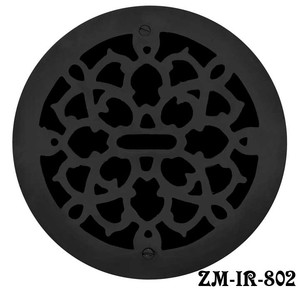 "Cast Iron Round Floor, Ceiling, or Wall Grates for Air or Heat Vent. Register Cover Without Damper, 8"" Boot Size, 9"" Overall Diameter (ZM-IR-802)"