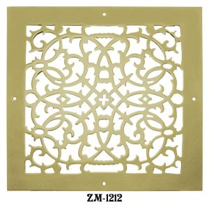 "Grille Recreated Brass  Floor, Ceiling, Or Wall Grate For Air Or Heat Vents. Register Cover 12"" X 12"" (ZM-1212)"