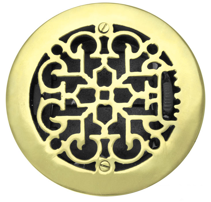 Round Brass Floor Ceiling or Wall Grates Vent  or Register Cover With  Damper, for 6