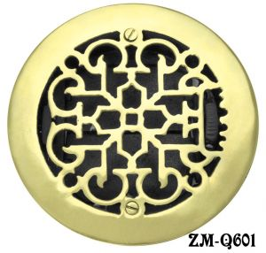 "Round Brass Floor Ceiling or Wall Grates Vent. or Register Cover With Damper, for 6"" hole, 7-3/8"" OA dia. (ZM-Q601)"