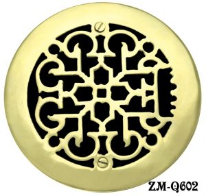 "Round Brass Floor Ceiling or Wall Grates Vent. or Register Cover No Damper, for 6"" hole, 7 3/8"" OA dia. (ZM-Q602)"