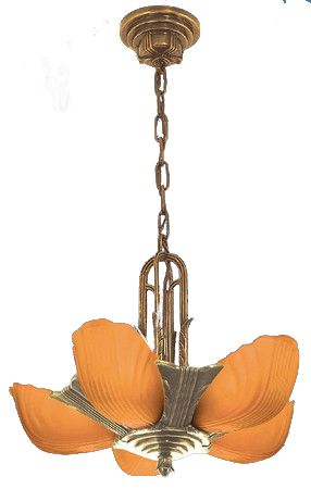 Art Deco 1930's Lighting Slip Shade Recreated Markel 5 Shade Chandeliers With Amber Shades (ZMR-3015-2)