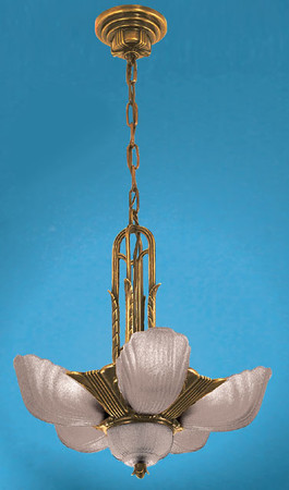 Art Deco Chandeliers Ceiling Lights Slip Shade Markel With 6 Frosted Shades (ZMR-3016-1)