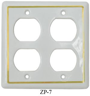 Victorian Decorative Double Gang Duplex Plug Cover Plate (ZP-7)