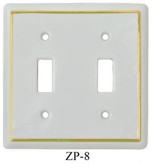 White Porcelain Victorian Style Two Gang Toggle Switch Plate Cover(ZP-8)