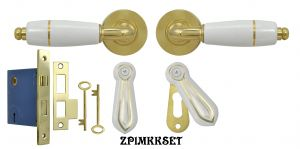 White Porcelain Lever Door Set with Gold Trim and Skeleton Key Lock (ZP1MKKSET)