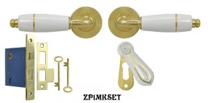 White Porcelain Lever Privacy Door Set with Gold Trim & Mortise Lock (ZP1MKSET)