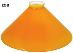 "Glass Shade Recreated 10"" Yellow Trumpet Cased Glass Shade 2 1/4"" Fitter (ZR-17)"