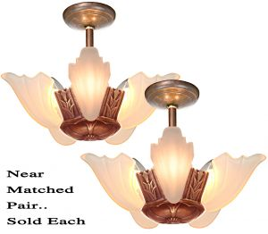 Near Matched Pair of Art Deco 5-Shade Chandeliers by Estellite (SOLD EACH) (ANT-1214)